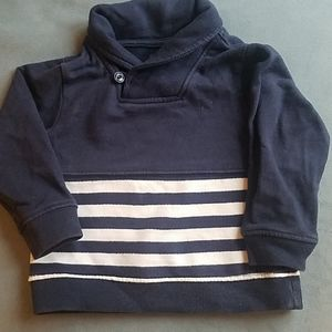 Shawl collar striped sweatshirt